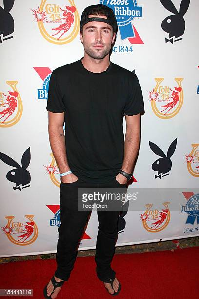 Brody Jenner poses at the Snoop Dogg Presents Colt 45 Works Every Time at The Playboy Mansion Party with Evan and Daren Metropulos on October 19 2012...