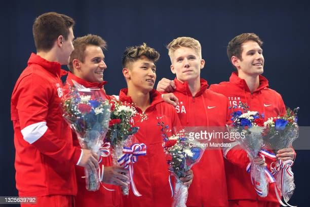 Brody Malone, Sam Mikulak, Yul Moldauer, Shane Wiskus and Alec Yoder pose after being selected to the 2021 U.S. Olympic Gymnastics team at the Men's...