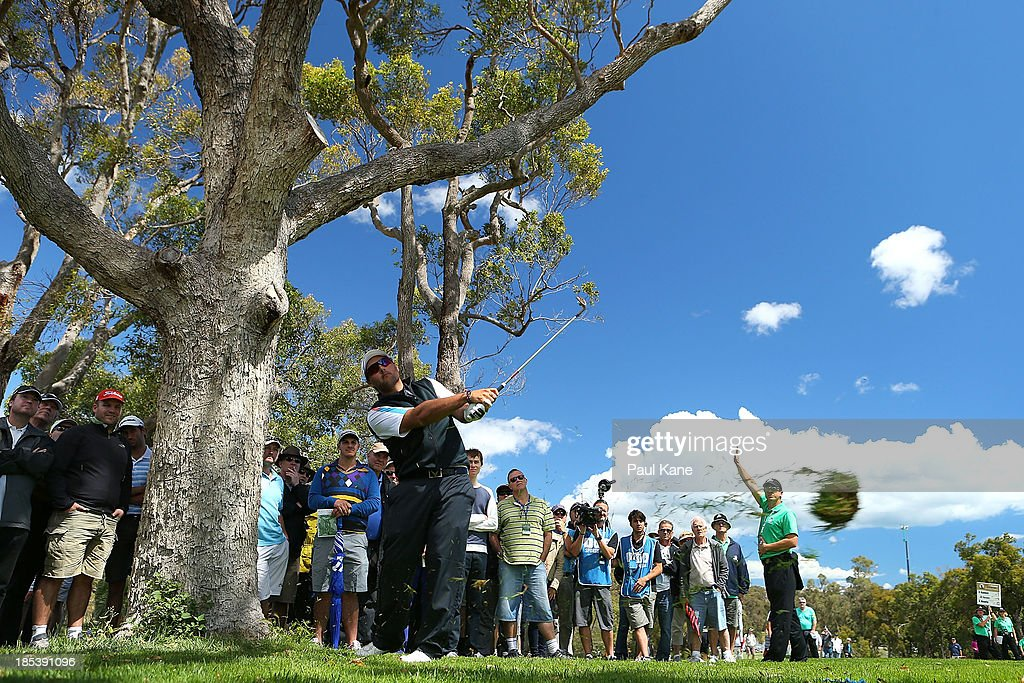 Brody Ninyette of Australia plays out of the rough on the 14th hole during day four of the Perth International at Lake Karrinyup Country Club on October 20, 2013 in Perth, Australia.