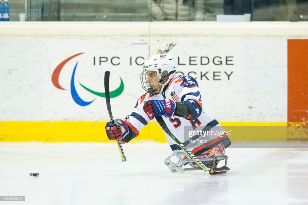 Brody Roybal during International Para Ice Hockey Tournament of Torino Semifinal match between USA and Japan in Turin, italy, on 26 Januray 2018. Usa team won 9 - 0. This is the last tournament before the Paralympic Games of Pyeongchang 2018 in Korea.