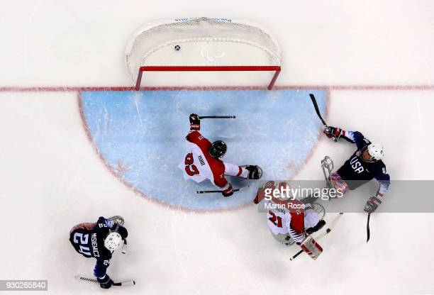Brody Roybal of United States scores a goal the Ice Hockey Preliminary Round Group B game between United States and Japan during day two of the...