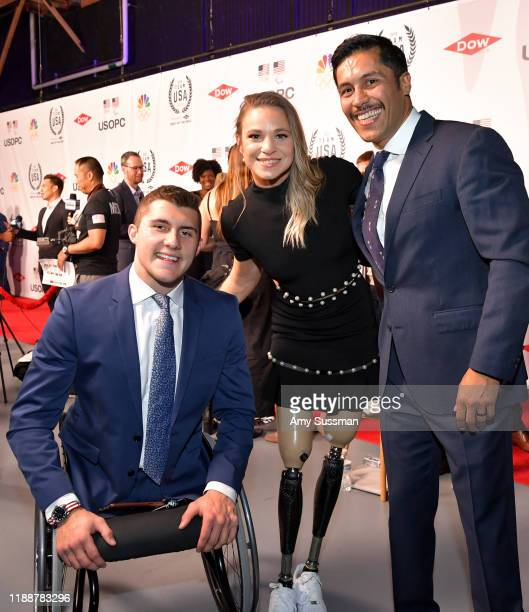 Brody Roybal Oksana Masters and Rico Roman attend the 2019 Team USA Awards at Universal Studios Hollywood on November 19 2019 in Universal City...