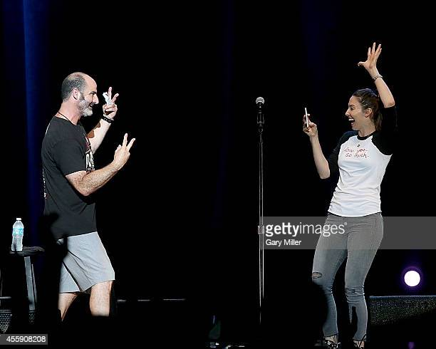 Brody Stevens and Whitney Cummings perform during the Funny Or Die Oddball Comedy Festival at the Austin360 Amphitheater on September 21 2014 in...