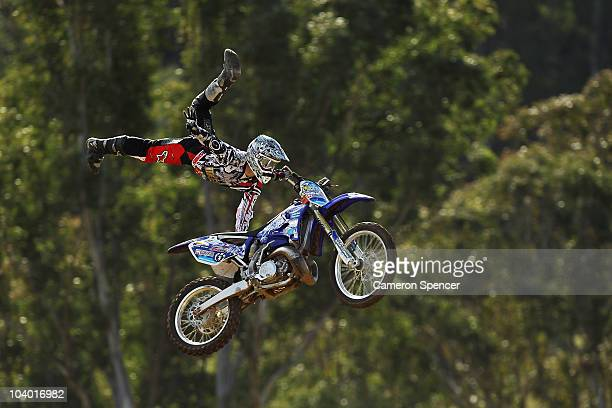 Brody Wilson of the USA in action during the final day of the Red Bull XRAY freestyle motocross competition at Razorback Ridge Picton on on September...