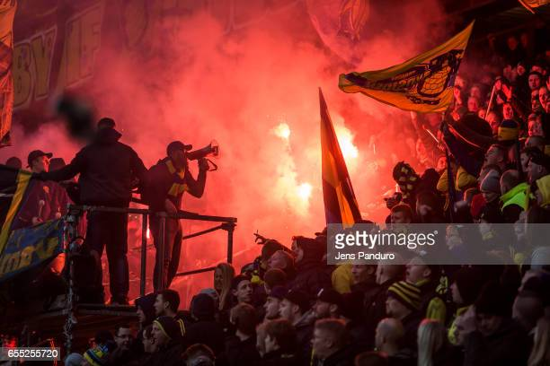 Broendby supporters the Danish Alka Superliga match between Brondby IF and Lyngby BK at Brondby Stadion on March 19 2017 in Brondby Denmark