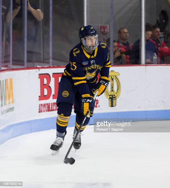 Brogan Rafferty of the Quinnipiac University Bobcats skates against the Boston University Terriers during NCAA men's hockey at Agganis Arena on...
