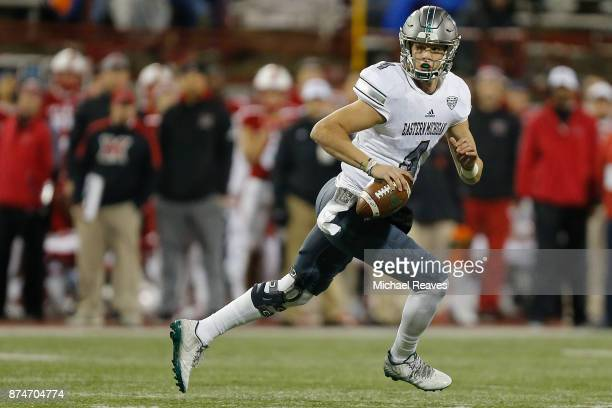Brogan Roback of the Eastern Michigan Eagles looks to pass against the Miami Ohio Redhawks during the first half at Yager Stadium on November 15 2017...
