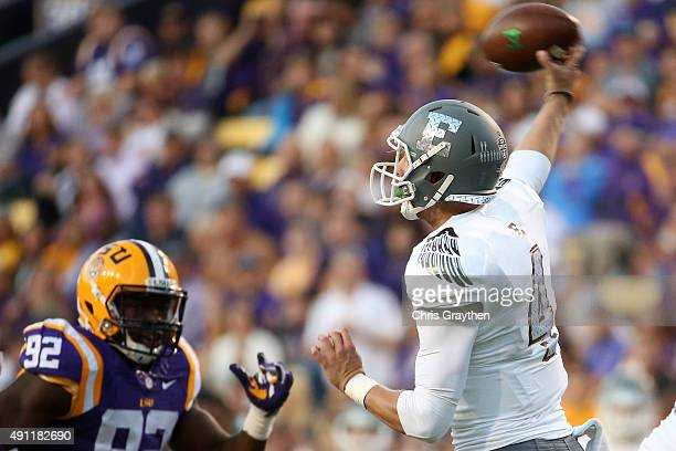 Brogan Roback of the Eastern Michigan Eagles throws a pass against the LSU Tigers at Tiger Stadium on October 3 2015 in Baton Rouge Louisiana