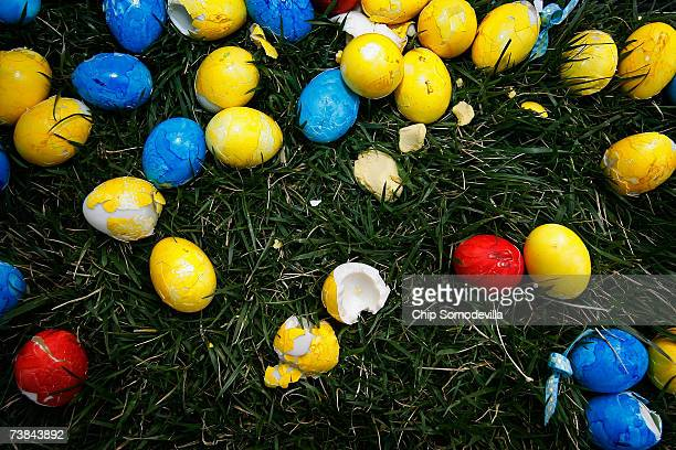 Broken and discarded eggs are left over after the Easter Egg Roll on the South Lawn of the White House April 9 2007 in Washington DC The annual event...