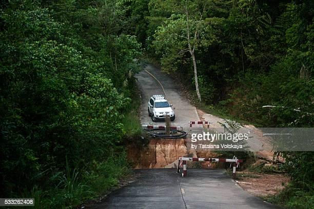Broken Asphalt road in Koh Chang iceland, Thailand