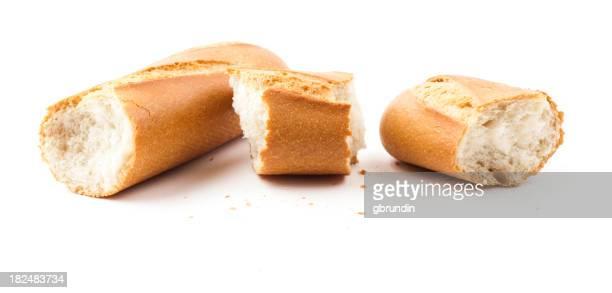 Broken baguette, isoliert auf weiss