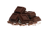 broken bar of dark chocolate