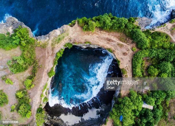 Broken beach aerial view