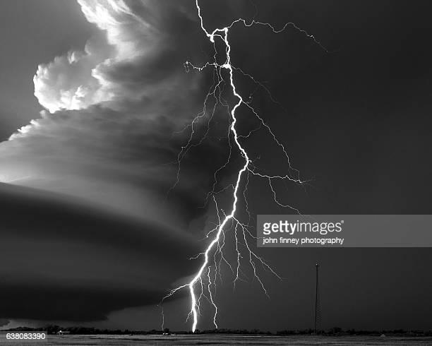 Broken Bow storm with massive lightning bolt. Nebraska. USA