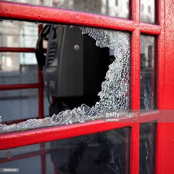 Broken British phone box windowpane