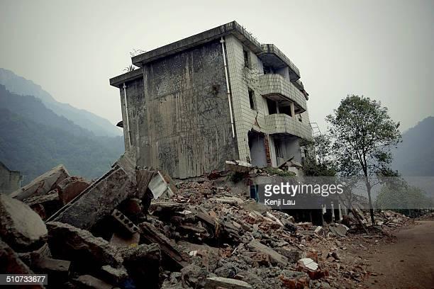 Broken buildings in earthquake