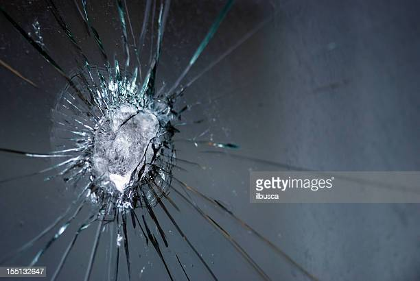 Broken bulletproof glass