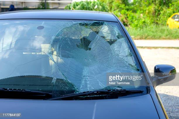 broken car windshield in car accident. - windshield stock pictures, royalty-free photos & images
