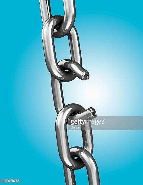 Broken chain link, blue background
