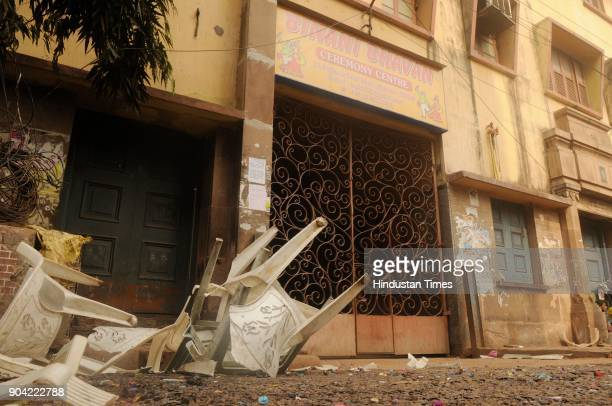 Broken chairs in front of Binani Bhawan due to clash between Bharatiya Janata Party and Trinamool Congress supporters on the issue of a rally at...