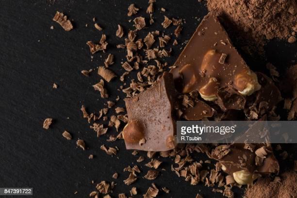 Broken chocolate nuts pieces