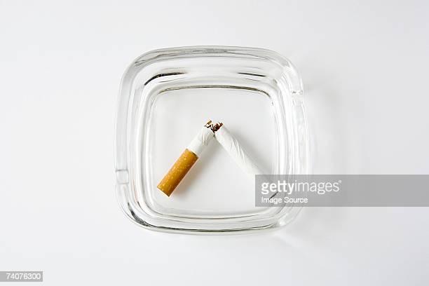 Broken cigarette in an ashtray