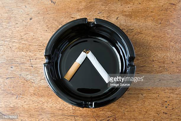 Broken cigarette in an ashtray