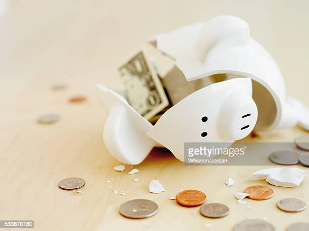 Broken coin bank