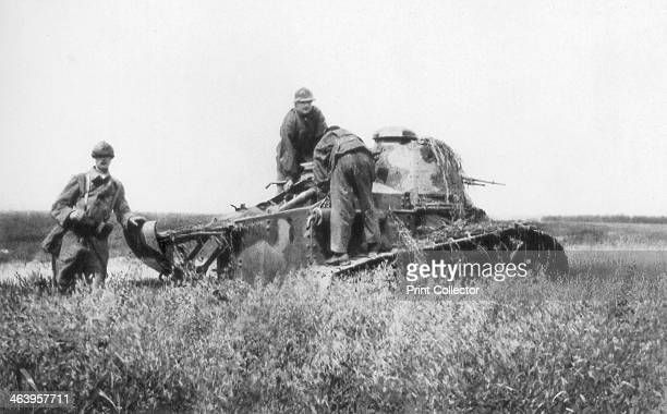 A broken down French light tank VillersCotterets Aisne France 1918 Tanks were first deployed in World War I by the British in 1916 The French...