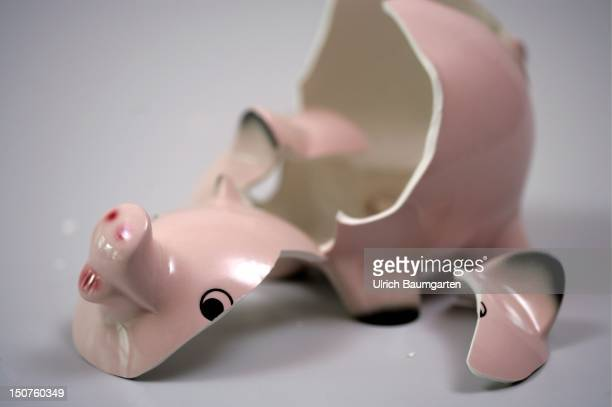 Broken empty piggy bank