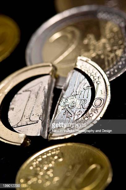 broken euro - decline stock pictures, royalty-free photos & images