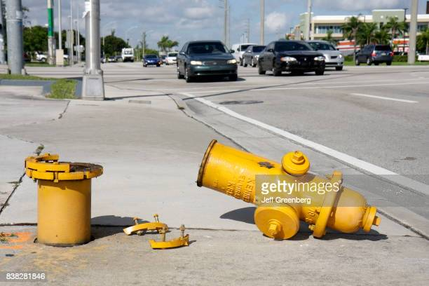 A broken fire hydrant on NW 183rd Street in Miami