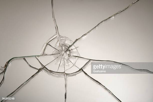 Broken glass after bullet shot