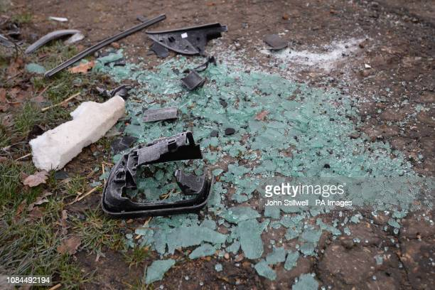 Broken glass and car parts on the side of the A149 near to the Sandringham Estate where the Duke of Edinburgh was involved in a road accident...