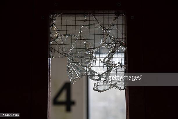 Broken glass is seen in a doorway in a car park in Ebbw Vale on March 7 2016 in Blaenau Gwent Wales The West Wales and the Valleys region which...