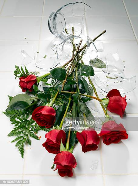 Broken glass vase with red roses on floor
