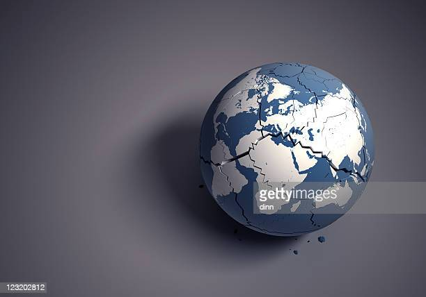 broken globe concept for fragile world heritage - international politics stock pictures, royalty-free photos & images