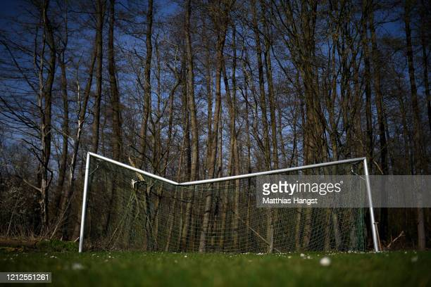 A broken goal seen on a ground of SG Rueppurr on March 15 2020 in Karlsruhe Germany As the number of confirmed cases of coronavirus infection...