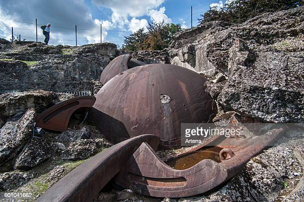 Broken gun turret and debris of the exploded magazine in the Fort de Loncin one of twelve forts built as part of the Fortifications of Liege...