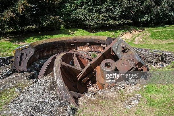 Broken gun turret in the Fort de Loncin one of twelve forts built as part of the Fortifications of Liege destroyed during World War I in the Battle...