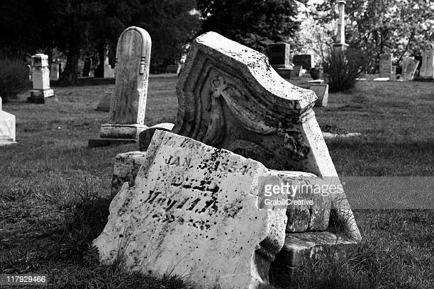 Broken Headstone Black & White