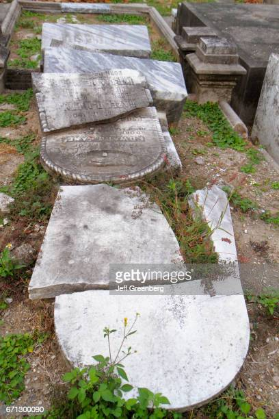 Broken headstones at historic Lafayette Cemetery Number 1