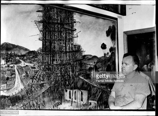 Broken Hill artist Kevin Pro Hart pictures in his studio at his Broken Hill home October 31 1972