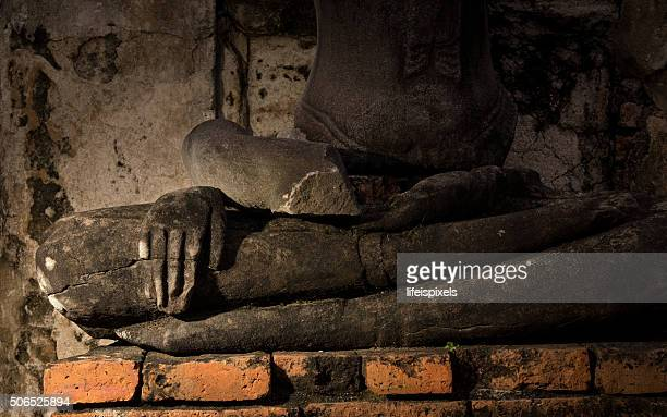 a broken image of buddha in meditation posture - lifeispixels stock pictures, royalty-free photos & images