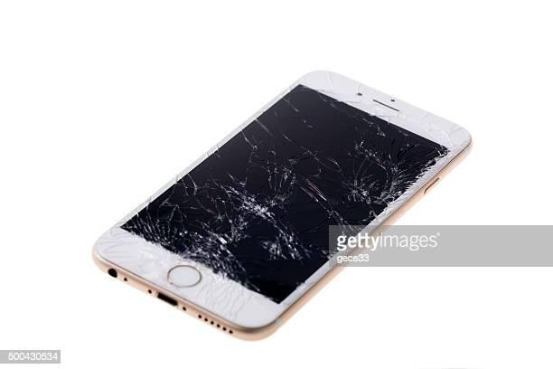 broken iphone 6 - gebroken stockfoto's en -beelden