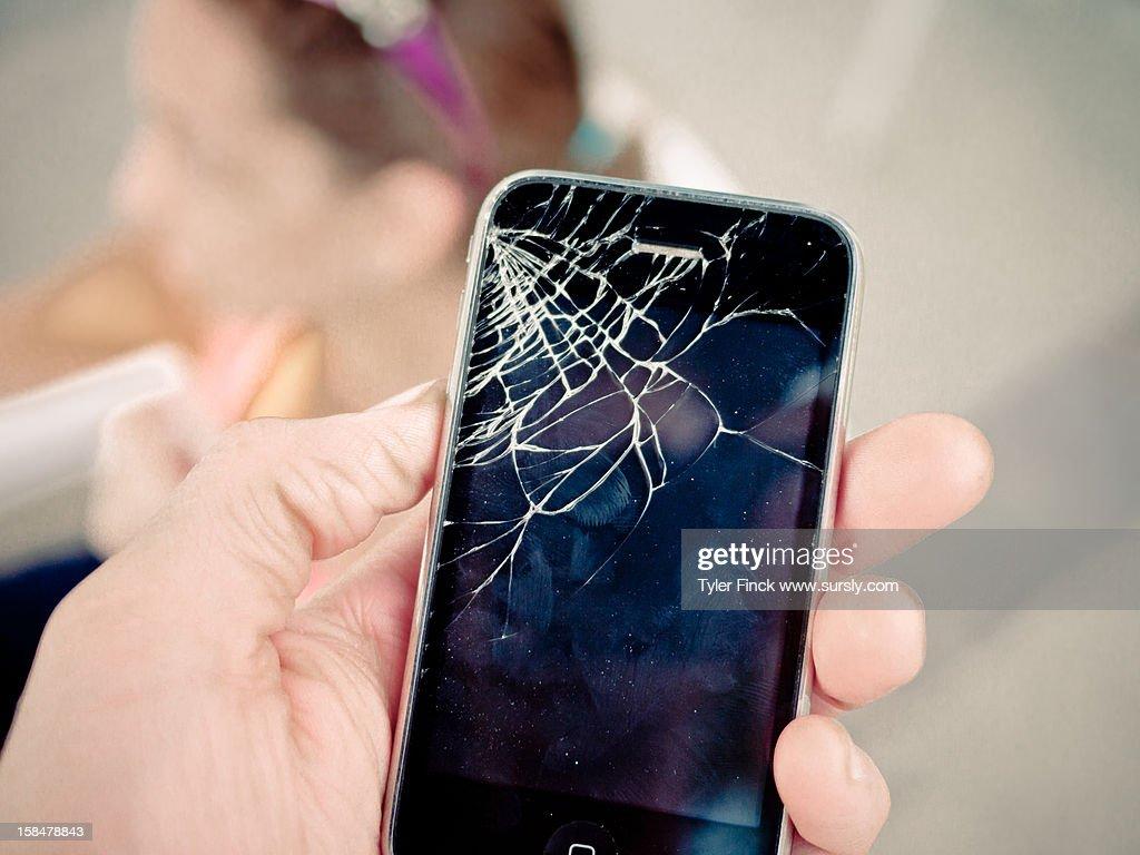Broken iPhone : Stock Photo