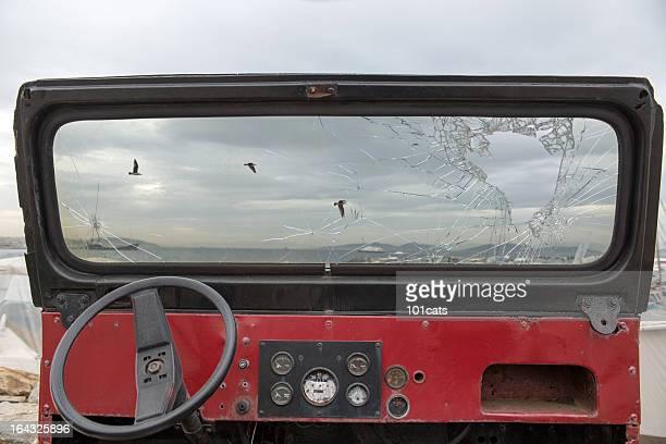 broken jeep glass