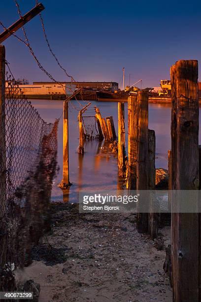 Broken jetty at night