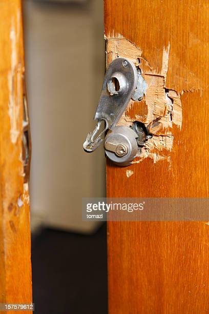 broken lock and door frame damaged from break-in - burglary stock pictures, royalty-free photos & images