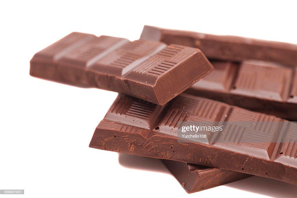 Broken milk chocolate bar : Stock Photo